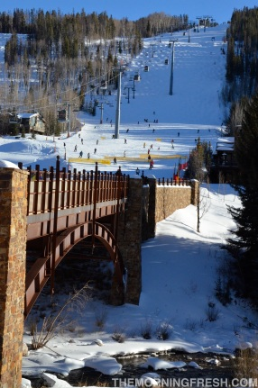 Skiers coming down from the slopes at Vail Mountain in Colorado.