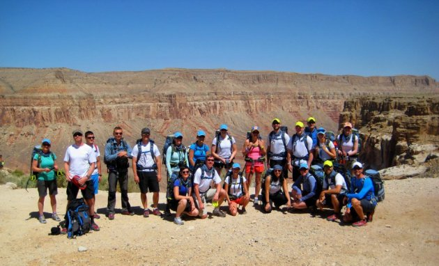 The whole Havasu Falls hiking crew gathers before we head out on our grand three-day adventure.