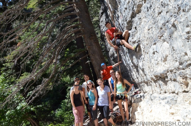 A poorly positioned self-timer shot of the ClimbChat group at American Fork Canyon!