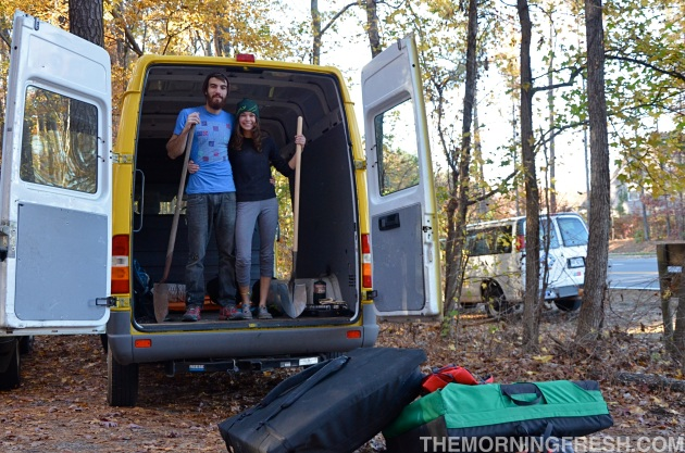 The Simply Adventure duo at our finest; shovels in hand, climbing gear ready, and our big yellow van!