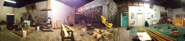 A panoramic view of all the construction work on the new climbing walls at Tallahassee Rock Gym.