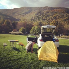 Niko sets up our Teton Sports Outfitter XXL Quick Tent at Grandfather Mountain Campground in NC.