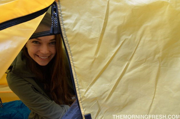 Peek-a-boo, that's me creeping inside my Teton Sports Outfitter XXL Quick Tent.