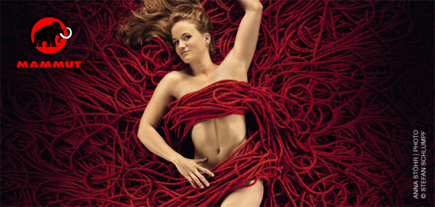Anna Stöhr poses on a bed of ropes in Mammut's 2013 calendar.