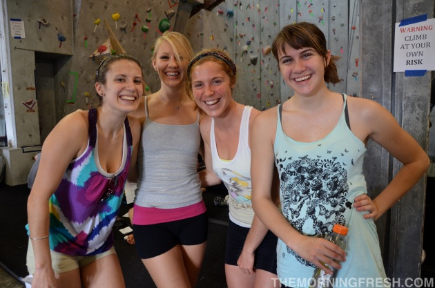 A few of the lovely ladies who climb regularly at Tally Rock Gym, and came out to show their love.