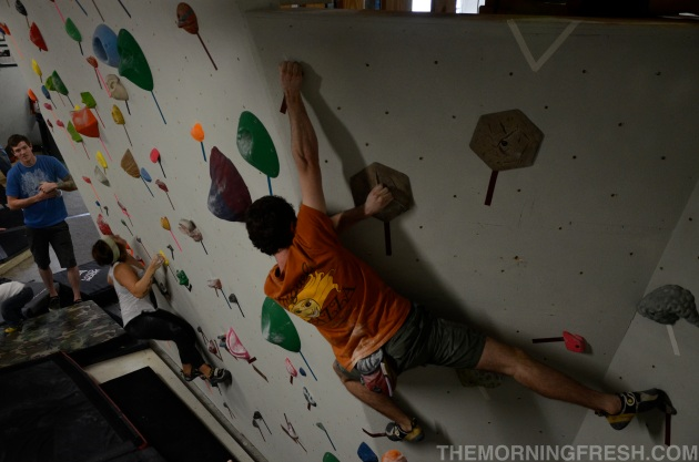 Max Richardson and Shea Nicole share the climbing wall during the Save The South event.