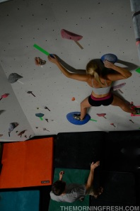 Finalist Lexi Toro crushes the women's finals route during the Save The South climbing competition.