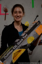 Women's finalist Sarah Tepper shows off her raffle winnings - a sweet new Teton Sports Outfitter Quick Tent!