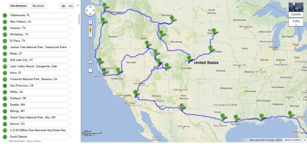 A very rough map of our trip outline so far.