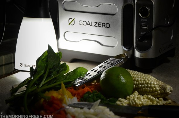 The Goal Zero Light-A-Life powers our van cooking adventures every night.