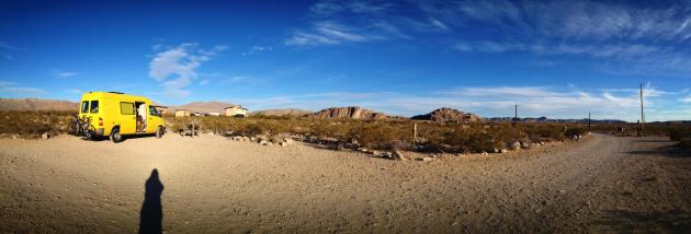 A panoramic view of our 'camp' spot at Hueco Rock Ranch near Hueco Tanks State Park.